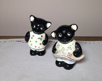 Vintage Salt and Pepper Shakers Black Cat Girl and Boy