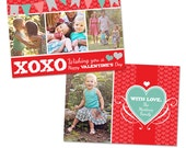 Valentine's Day 5x7 Photo Card Template - INSTANT DOWNLOAD