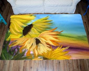 Sunflowers Field Area Rug from my art