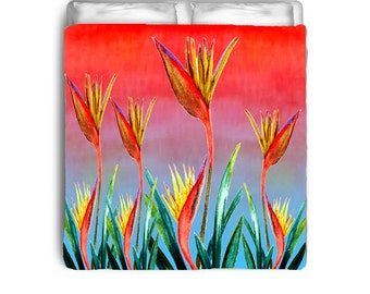 Bird of Paradise Tropical Floral Comforters from my art