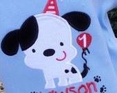 Personalized Appliqued Puppy Dog Birthday