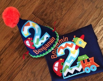 Boys Planes, Trains and  Automobile Birthday Shirt with Party hat