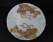 Ceramic Double Fish (Koi) Platter by Shayne Greco beautiful Mediterranean glazed pottery.
