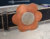 Copper and Sterling Silver Flower Buckle and Belt
