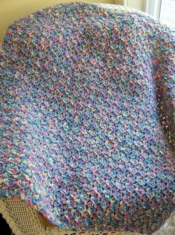 Crochet Baby Blanket Patterns Variegated Yarn : new crochet bulky soft baby blanket afghan wrap shawl handmade