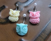 Belly Button Ring Jewelry. Pastel Owl Belly Button Ring Navel Piercing Jewelry Stud Cream Yellow Mint Green Pink Bar Barbell Belly Button