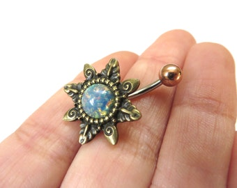 Belly Button Ring Jewelry, Blue Opal Starburst Belly Button Ring Navel Piercing Bronze Sun Stud Bar Barbell Star Burst Belly Button Ring