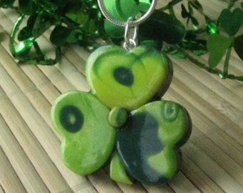 Polymer Clay SHAMROCK Necklace - Mokume Gane - St. Patrick's Day Jewelry