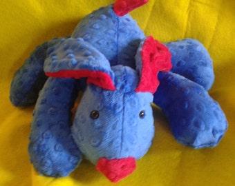 Stuffed Puppy -  Dog Soft Toy -  cobalt blue - red Minky Dot Fabric - stuffed animal - minky dot dog - Plushie - Custom Colors - Floppy Ears