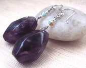 Amethyst Earrings, Purple Gemstone Earrings, Amethyst, Crystal Earrings, Rough Cut Amethyst, Hypoallergenic, Crystals, February Birthstone
