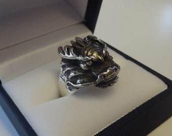 Vintage Sterling Silver Dragon Head Ring Size 9 ~ Unisex