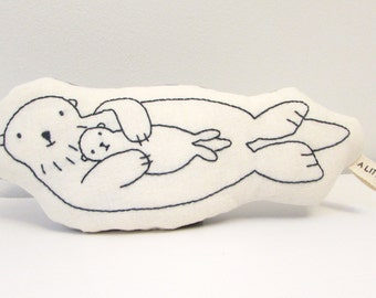 ORGANIC - Sea Otter Mother and Baby Hand Embroidered Pillow - Soft Toy