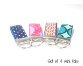 Set of 4 Keychains, Itty Bitty Keychain, Mini Key Fob