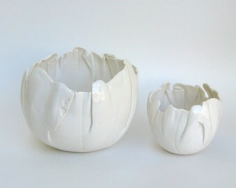 duo of hand built porcelain balloon bowls  ...   creamy  white