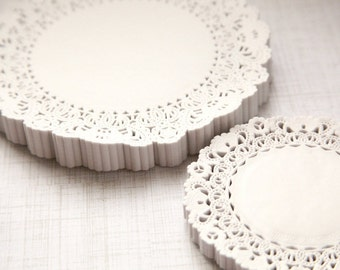 """50 - 4"""" Round White Paper Lace Doilies"""