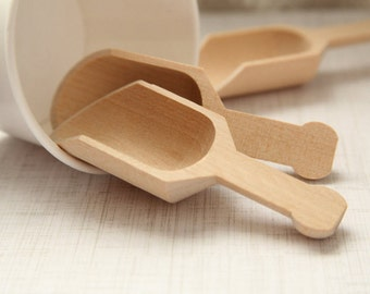 """4 - Mini Wooden Scoops --- 4.5"""" x 1.75"""" --- LAST ONE!! Perfect for parties, kitchen, kids-play, craft party, etc"""