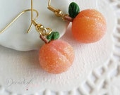 Sugar coated Georgia Peach Earrings- Polymer clay Miniature Food jewelry-14kt gold-Scented gift