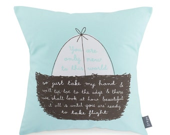 New To This World (Turquoise) - Cushion (CUSH1)
