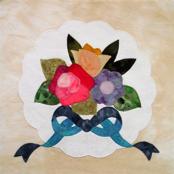 Floral Bouquet and Doily Appliqued Quilt Block