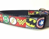 Dog Collar, Justice League, 1 inch wide, adjustable, quick release, metal buckle, chain, martingale, hybrid, nylon