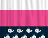 Custom Personalized Shower Curtain -Tri-color and Whale -Shared Curtain in Navy, Hot Pink & White