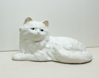 Vintage Cat Planter, white persian cat planter, ceramic kitty pot, home decor, garden pottery, cat vase