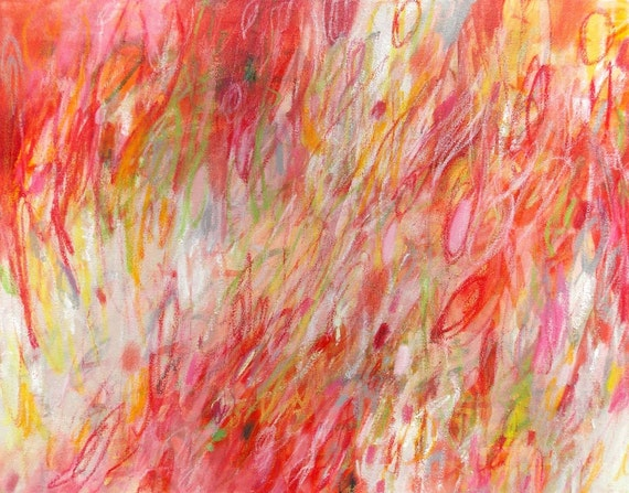 Red Abstract Painting Original Fine Art Acrylic on 16x20 Canvas Expressionist Modern Home Decor - Rush by Jessica Torrant