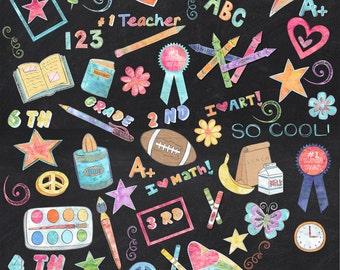 155 Colored Chalk School Elements/Clipart **** Instant Download****