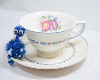 Wedgwood Teacup / Evenlode pattern / Wedgwood Corinthian raised design / Vintage / Blue laurel / pink and purple flowers / wedding favor