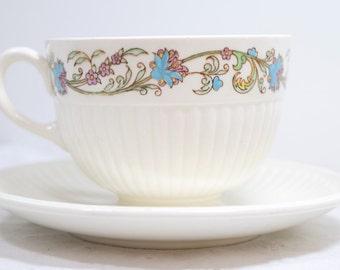 Wedgwood Teacup / Edme pattern / Wedgwood Banbury raised design / Vintage / Blue flower / pink teal flowers / wedding favor