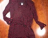 Vintage Carol Little Black and Red Polka Dot Lightweight Blouse Jacket (sz 4 6 8)
