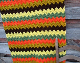 Vintage Afghan Crochet Chevron 1970's retro yellow green orange  63x36""