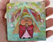 Jizo Painting - mini original - Jizo Under the Energy Field