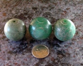 Vintage 25mm Grey Green Jade Round Beads - Three 3 Piece 25 mm Round Jade Bead Set