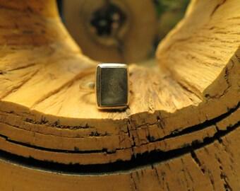 Rectangular Gibeon Meteorite Ring/ 925 Silver/ Size 6