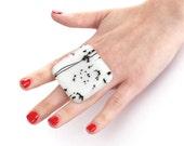 Glass Ring Adjustable  - big bold oversize handmade fashion cocktail ring - ICE MAGIC - 1.9 inch