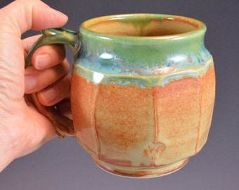 Faceted Wheel Thrown and Altered Stoneware Mug in Shino Brown and Gunmetal Green Glaze
