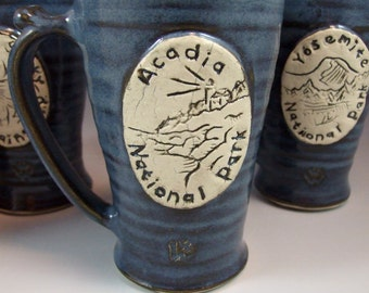 Small Wheel Thrown Acadia National Park Mug in Croc Blue Glazes