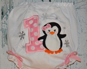 CLEARANCE Birthday Winter Penguin BLOOMERS Diaper Cover ONE-Derland