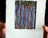 Habitat Series - Woodlands 1: wall art, home decor, abstract nature etching, handed colored with pastel