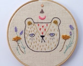 Embroidered wall hanging, hoop art, wall art, wall hanging, lavender embroidery, yarrow, Spirit bear embroidery - Made to Order