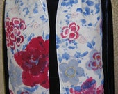 Red and Blue Wild Flowers  - hand painted silk scarf