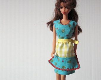 Barbie Doll Handmade Clothes - Turquoise Handmade Barbie Doll Dress w/ Red Trim and Matching Yellow Gingham Apron - Pockets Self Tie