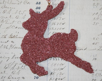 Genuine German Pink Glitter Reindeer Vintage Inspired Ornament