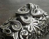 Silver Statement Cuff Snake Bracelet Egyptian Revival Handmade Jewelry
