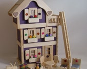 Wooden Dollhouse, 3-Storey Doll House Furniture, Natural Wood toy, Gender Neutral toy, Waldorf, Handmade toy, Jacobs Wooden Toys 'MULBERRY'