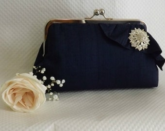 Navy Bridal Clutch - Navy Wedding Purse -Bridesmaids Clutch - Bridal Clutch with Crystal Brooch - Giselle