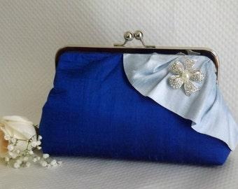 Royal Blue Bridal Clutch - Royal Blue Wedding Purse - Bridesmaids Clutch - Bridal Clutch with Pearl and Crystal Brooch - Giselle