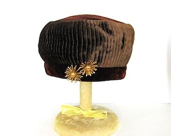 Vintage Brown Pleated Velvet Pillbox Hat with 2 Gold Starburst Pins
