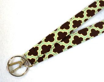 Joel Dewberry Fabric Lanyard Badge Holder Breakaway Lanyard Designer Fabric ID Clip Key Ring Fob Quatrefoil Aqua Brown MTO